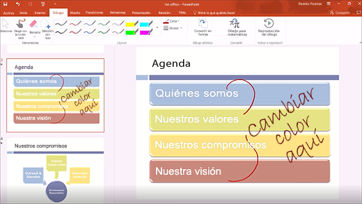 Windows Ink en PowerPoint