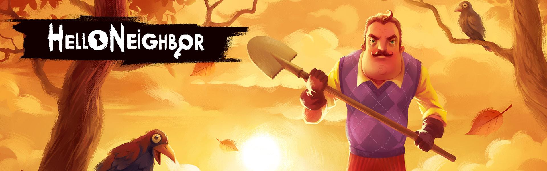 Een personage uit Hello Neighbor staat buiten met een schop in zijn handen, achter hem staan bomen met kraaien