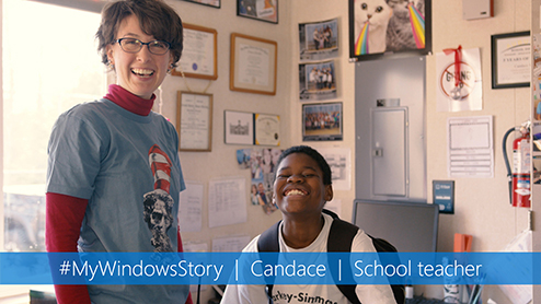 Candace leans on Windows tools as a student and teacher