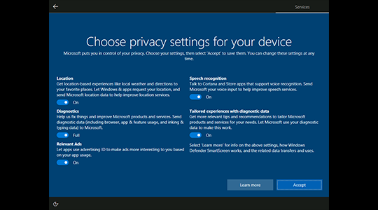Windows 10 privacy journey