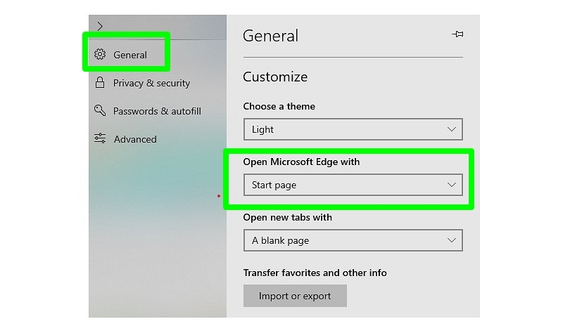 Settings in Microsoft Edge
