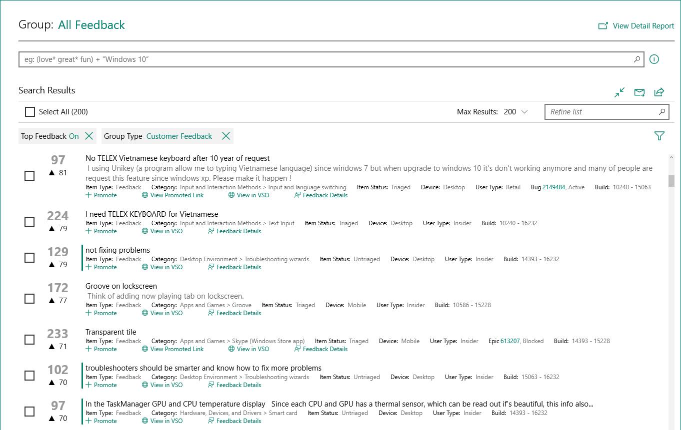 Screenshot of All Feedback in the Feedback Hub