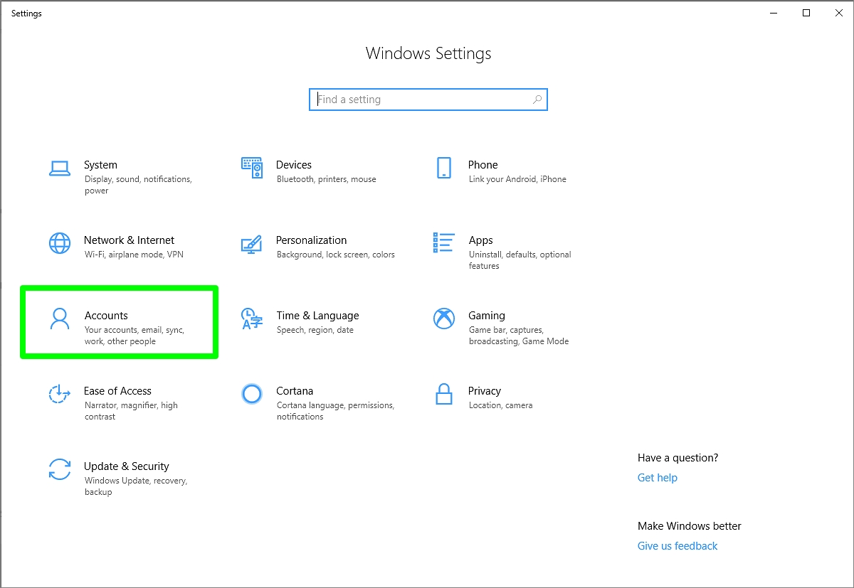 Screenshot of Windows Settings page