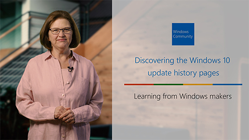 Discovering the Windows 10 Update history pages