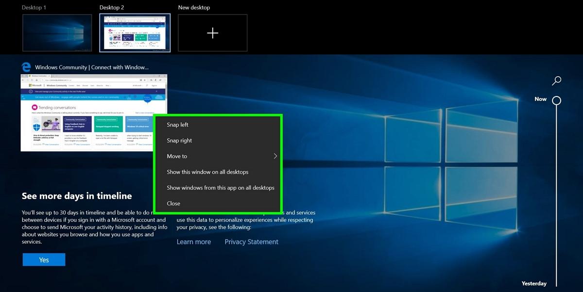 Screenshot of customizing multiple desktops in Windows