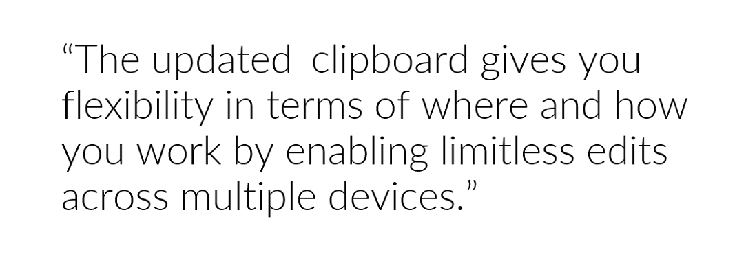 Clipboard history allows limitless edits across different Windows 10 devices