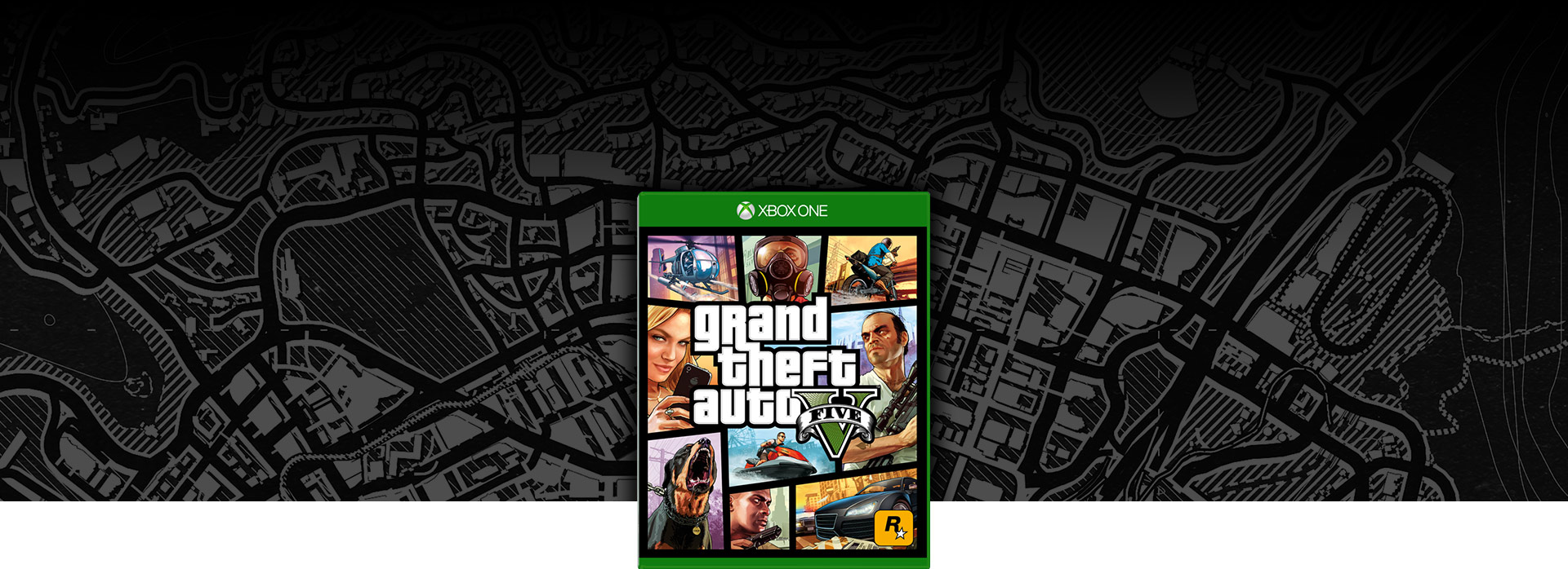 GTA 5 boxshot. Black and white map of Los Santos