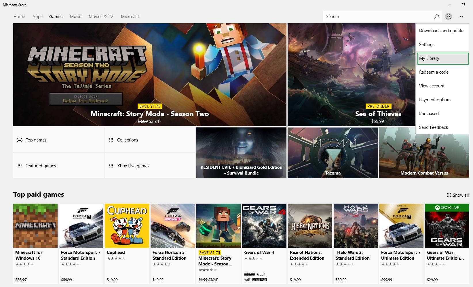Microsoft Store Games tab