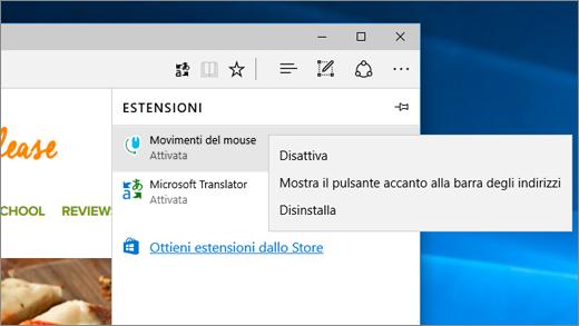 Menu di scelta rapida per le estensioni in Microsoft Edge