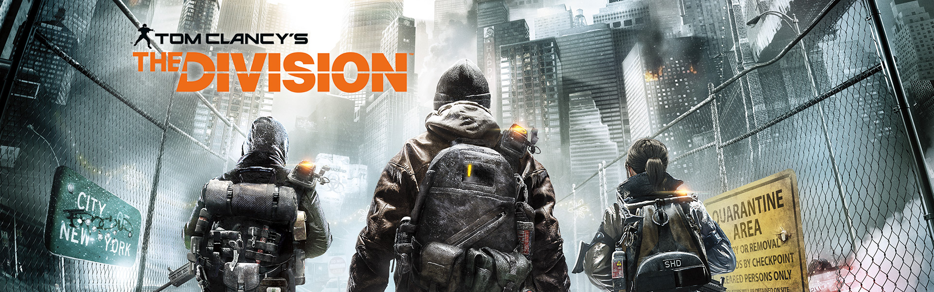 Tom Clancy's The Division, three division agents walk down a quarantined New York street