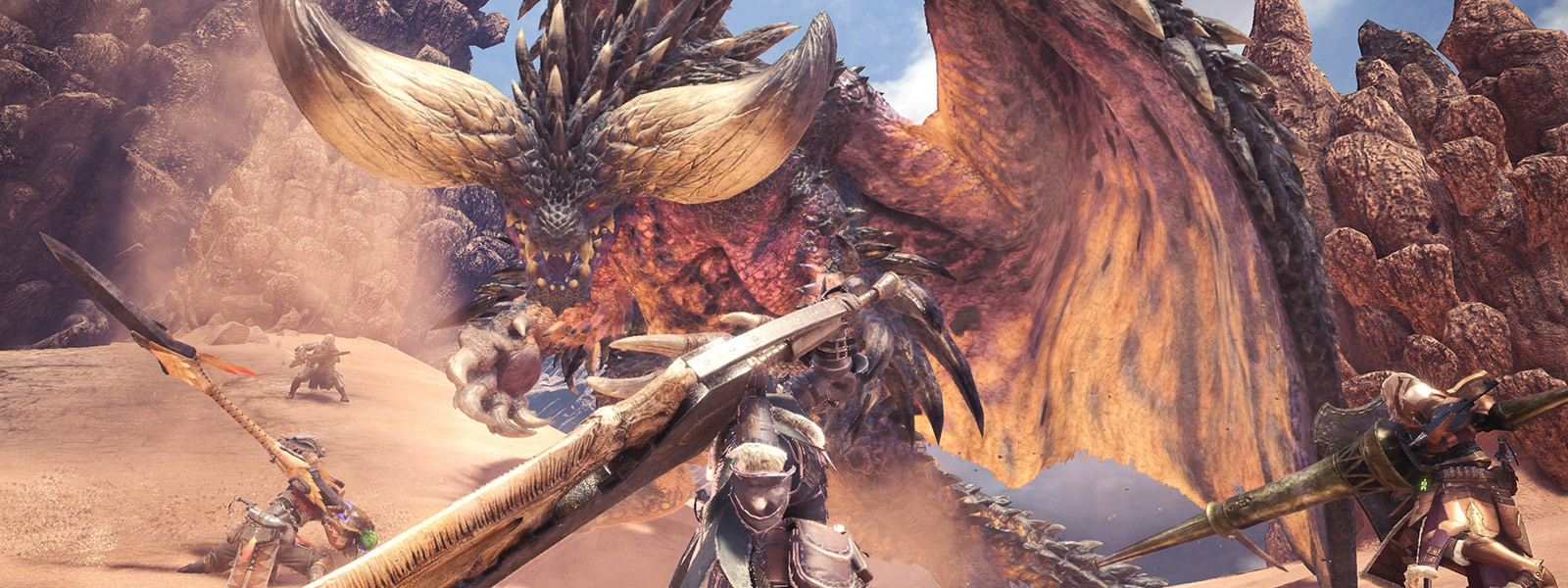 4 players team up against the Nergigante monster