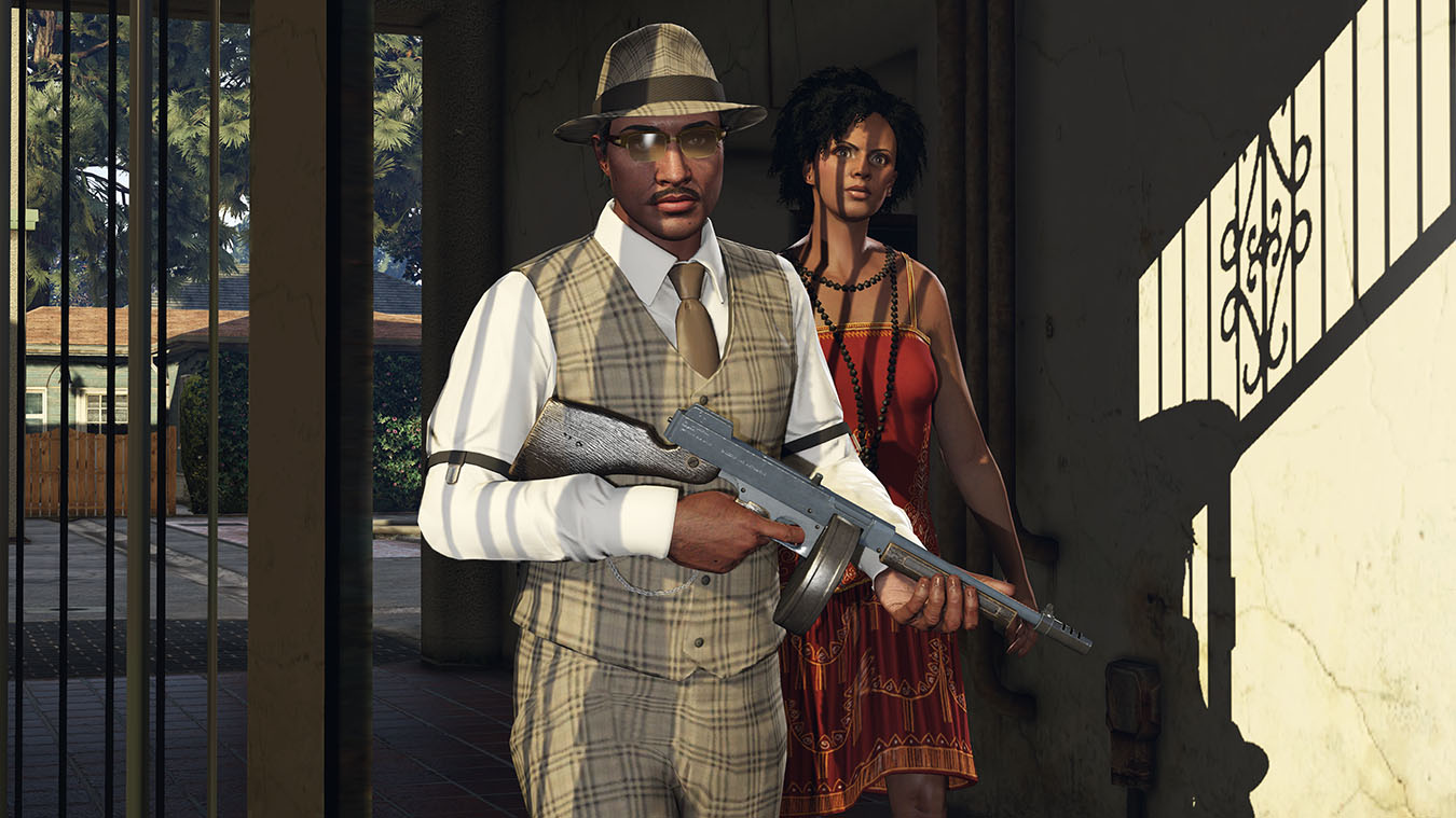 Man from 1920s holding a tommy gun with a woman behind him