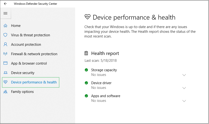 Screenshot of Device performance and health details