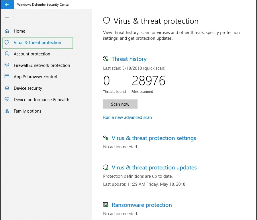 Screenshot of Virus & threat protection settings