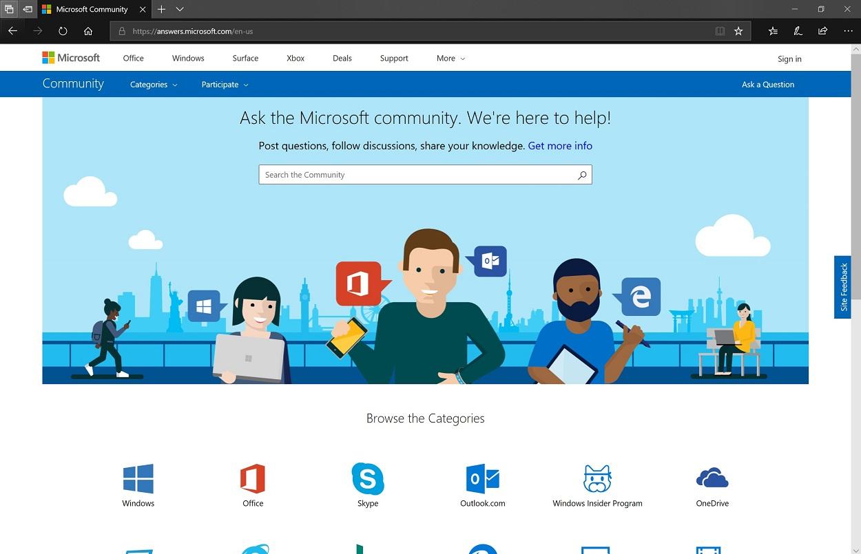 Screenshot of Microsoft Community website