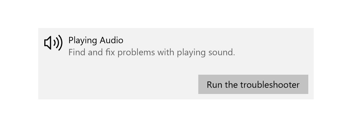 Screenshot of Playing Audio Run the troubleshooter button
