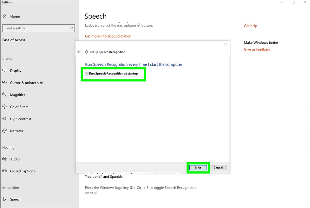 Run speech recognition at startup