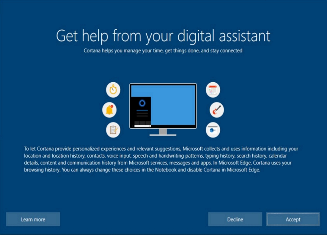 Out of box Cortana digital assistant