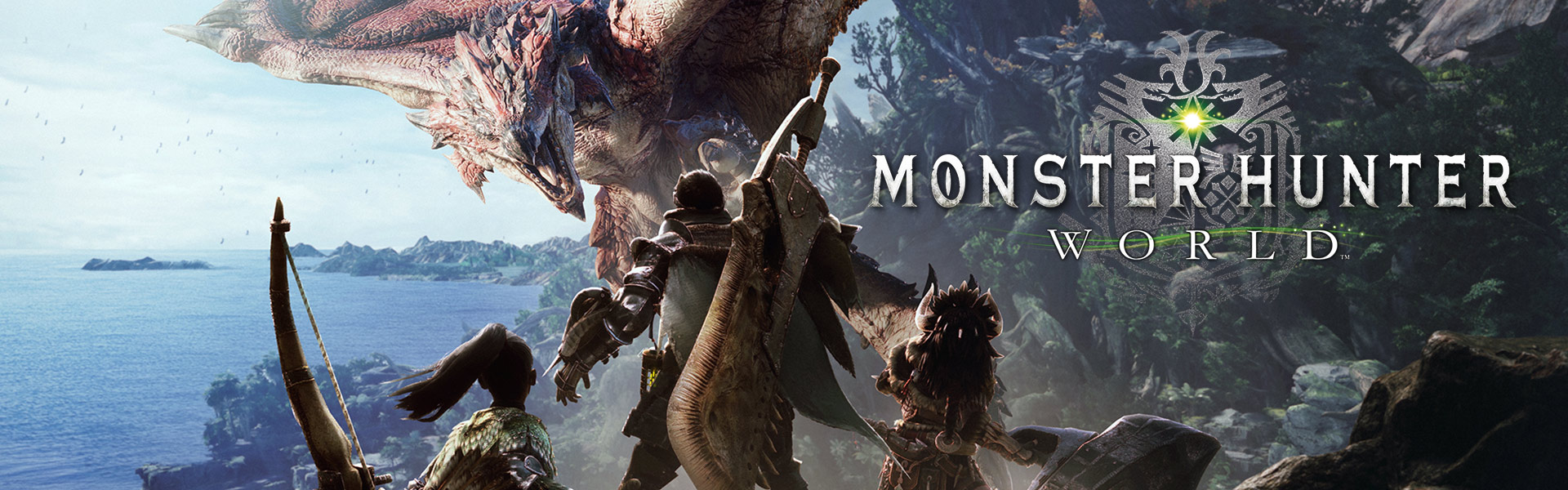 Monster Hunter World, Characters face flying beast in combat ready stance
