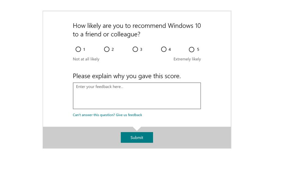 Screeshot of Feedback Hub Windows 10 survey