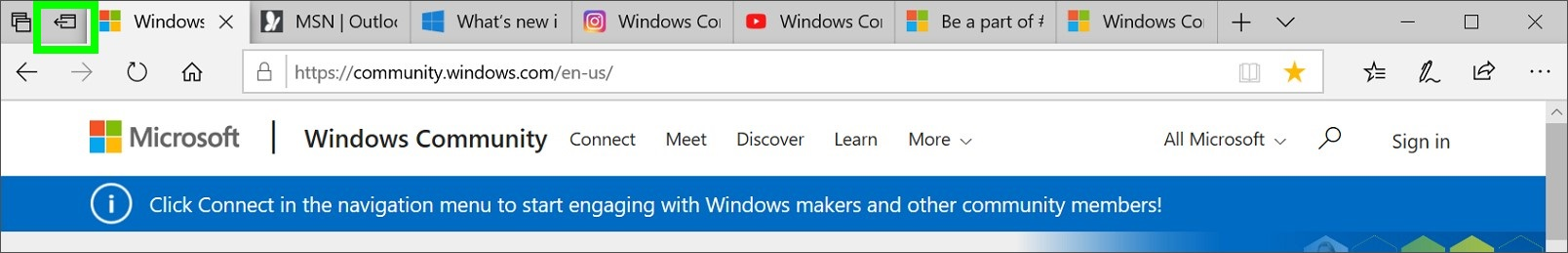 Screenshot of Microsoft Edge Set these tabs aside icon