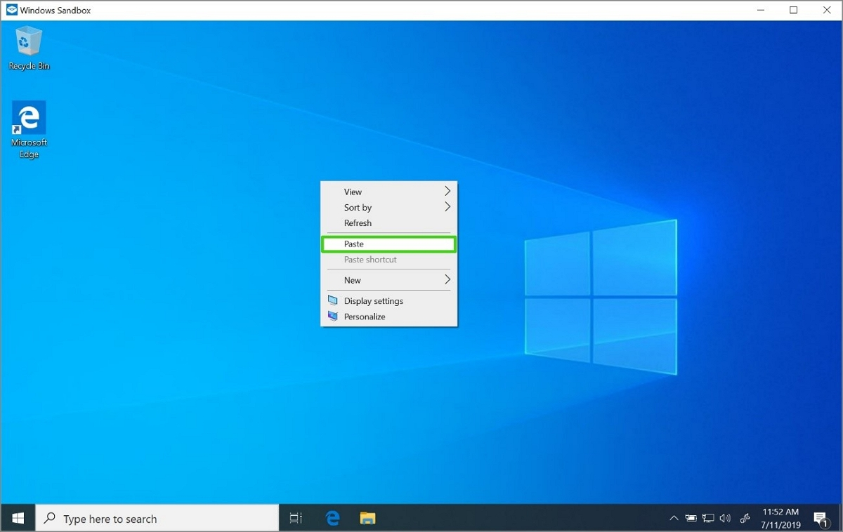 Windows Sandbox paste