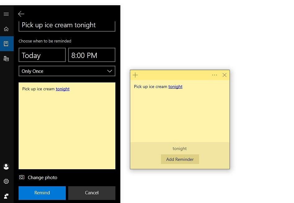Screenshots of Sticky Notes Cortana reminder
