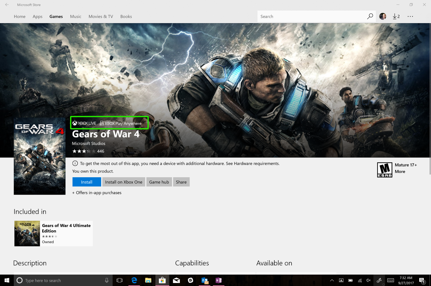 Gears of War 4 video game page in the Microsoft Store