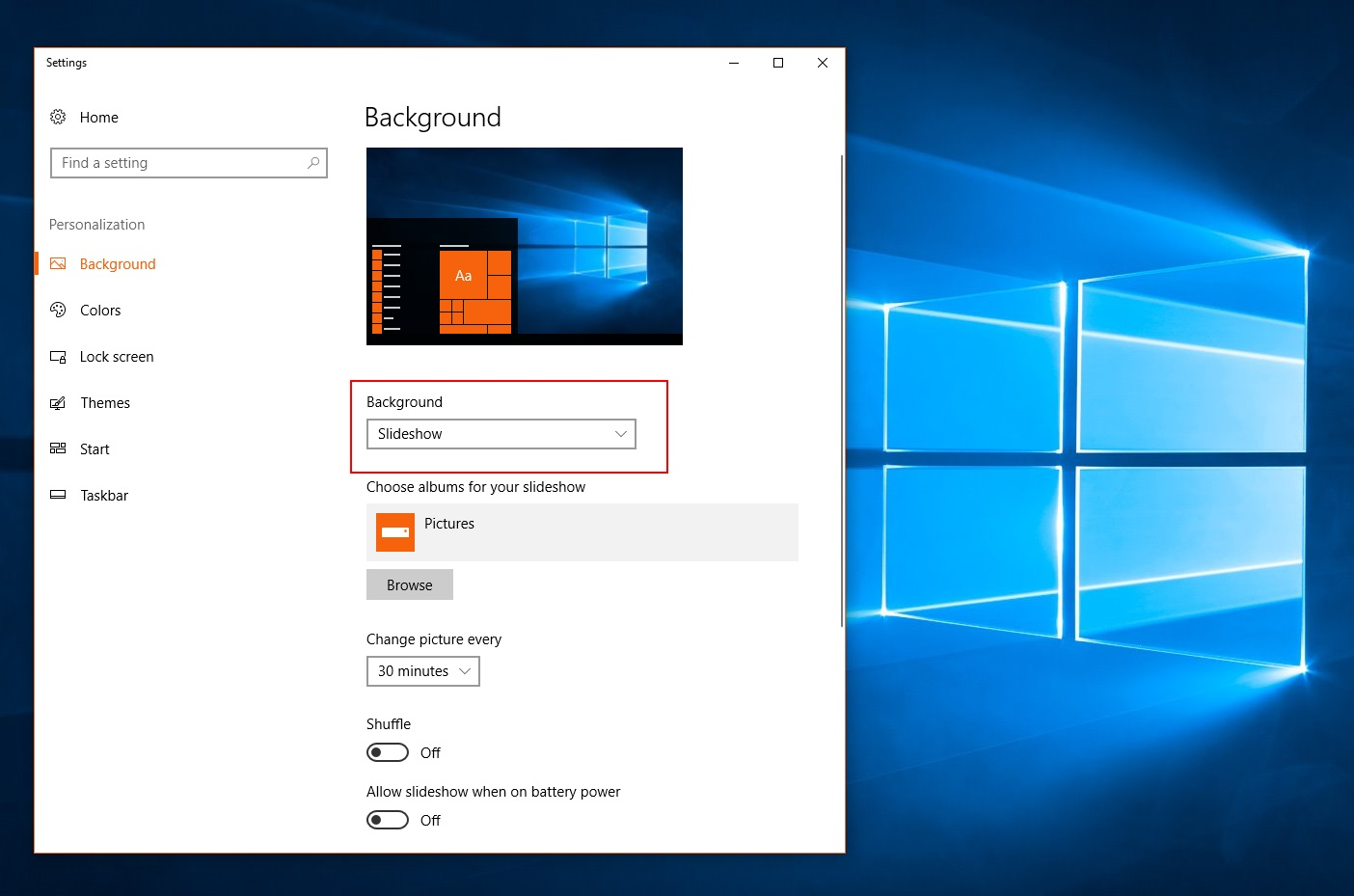Background settings in Windows 10