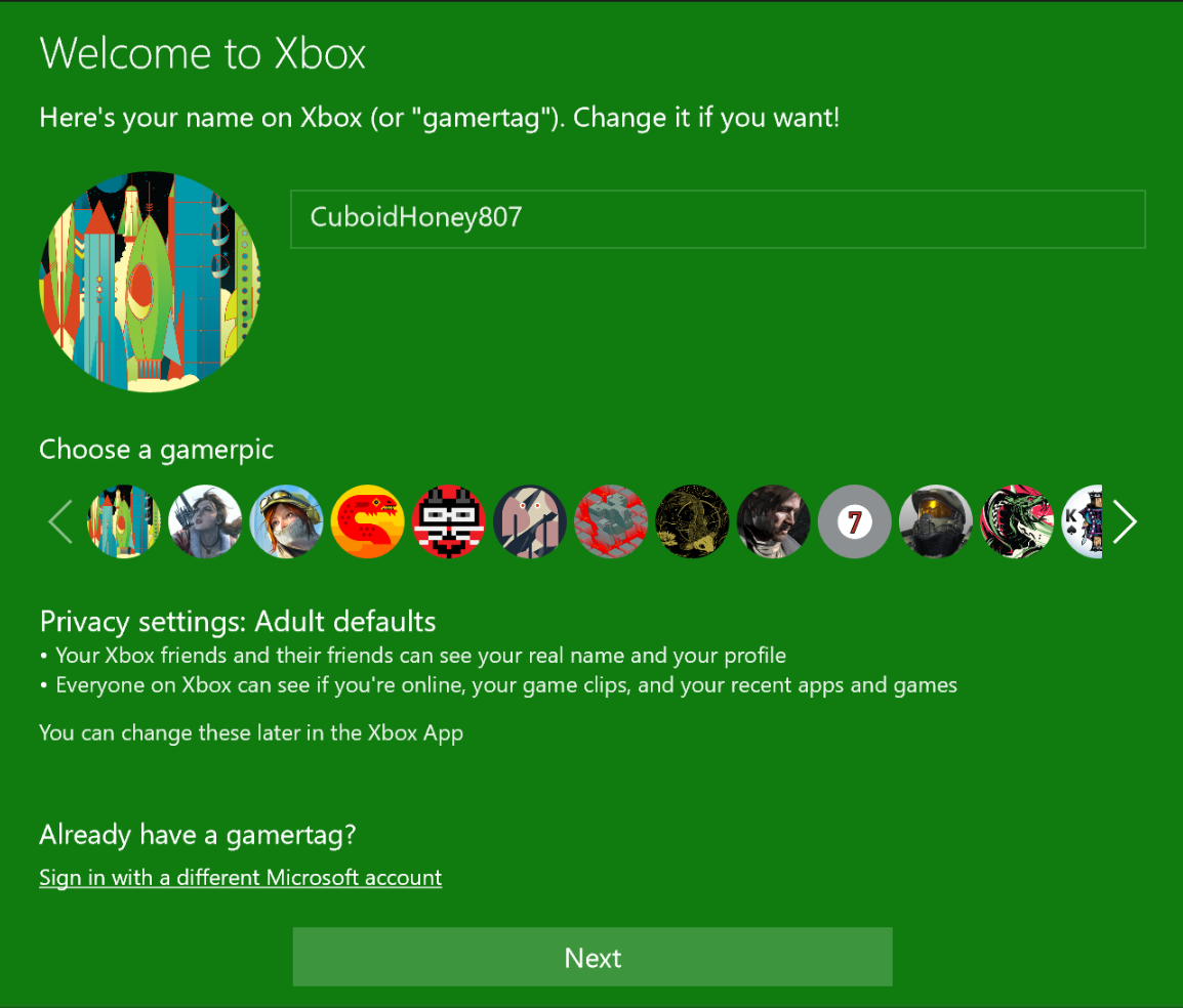 Xbox app settings window