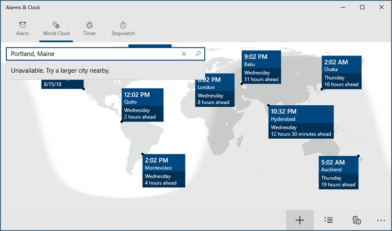 Screenshot of world clock map
