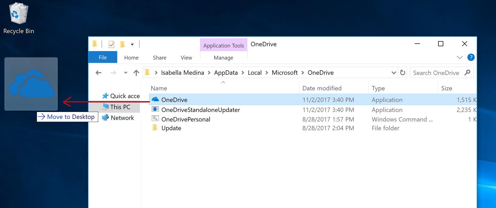 Screenshot showing how to pin to desktop