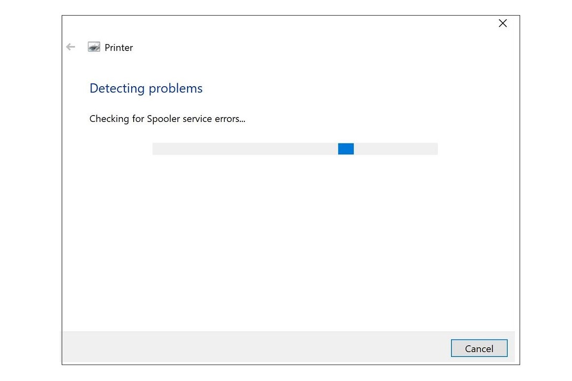 Screenshot of Printer troubleshooter