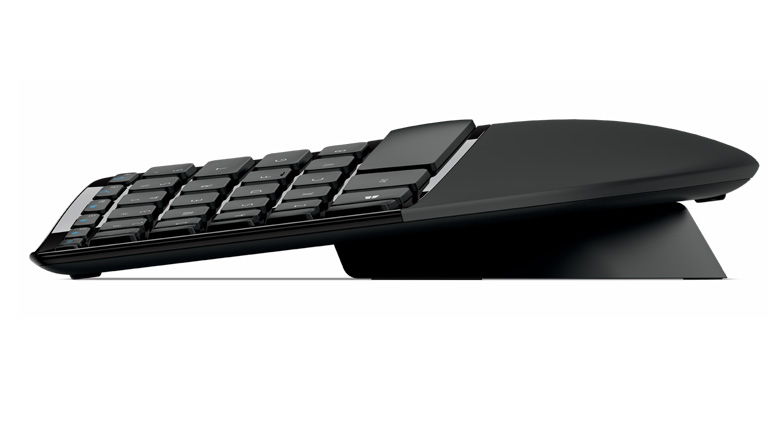 Side view of Microsoft Sculpt Ergonomic Keyboard Desktop