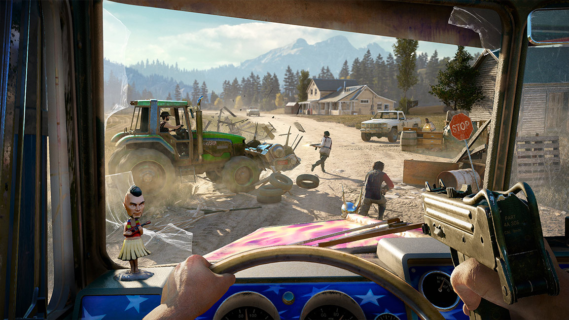 Two players in co-op mode use ridable farm equipment to run over bad guys.
