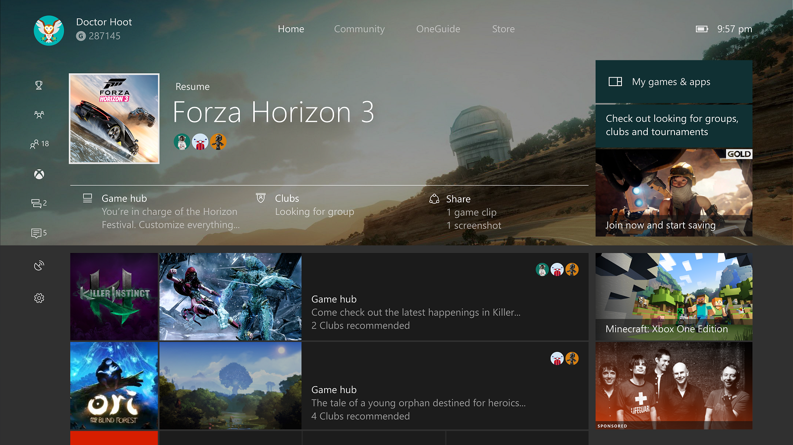 Xbox One app user interface