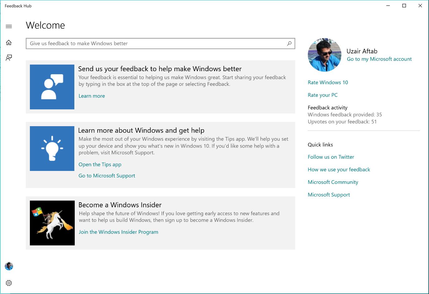 Screenshot of Feedback Hub's Welcome page