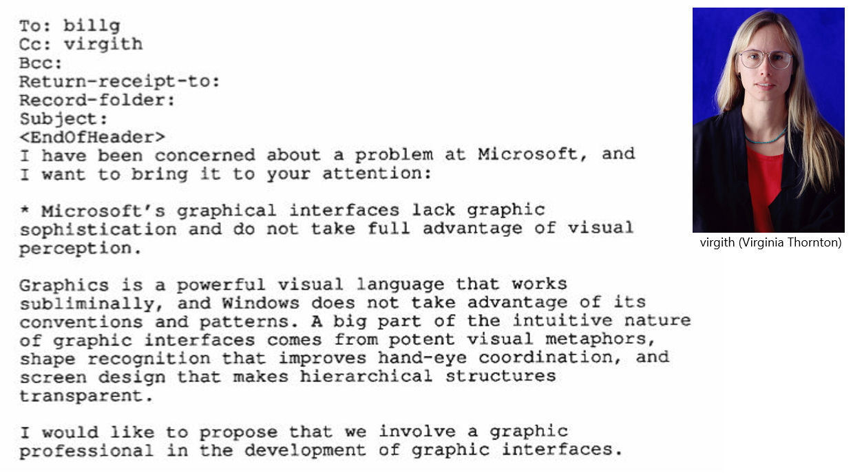 Screenshot of Virginia Thornton's memo to Bill Gates