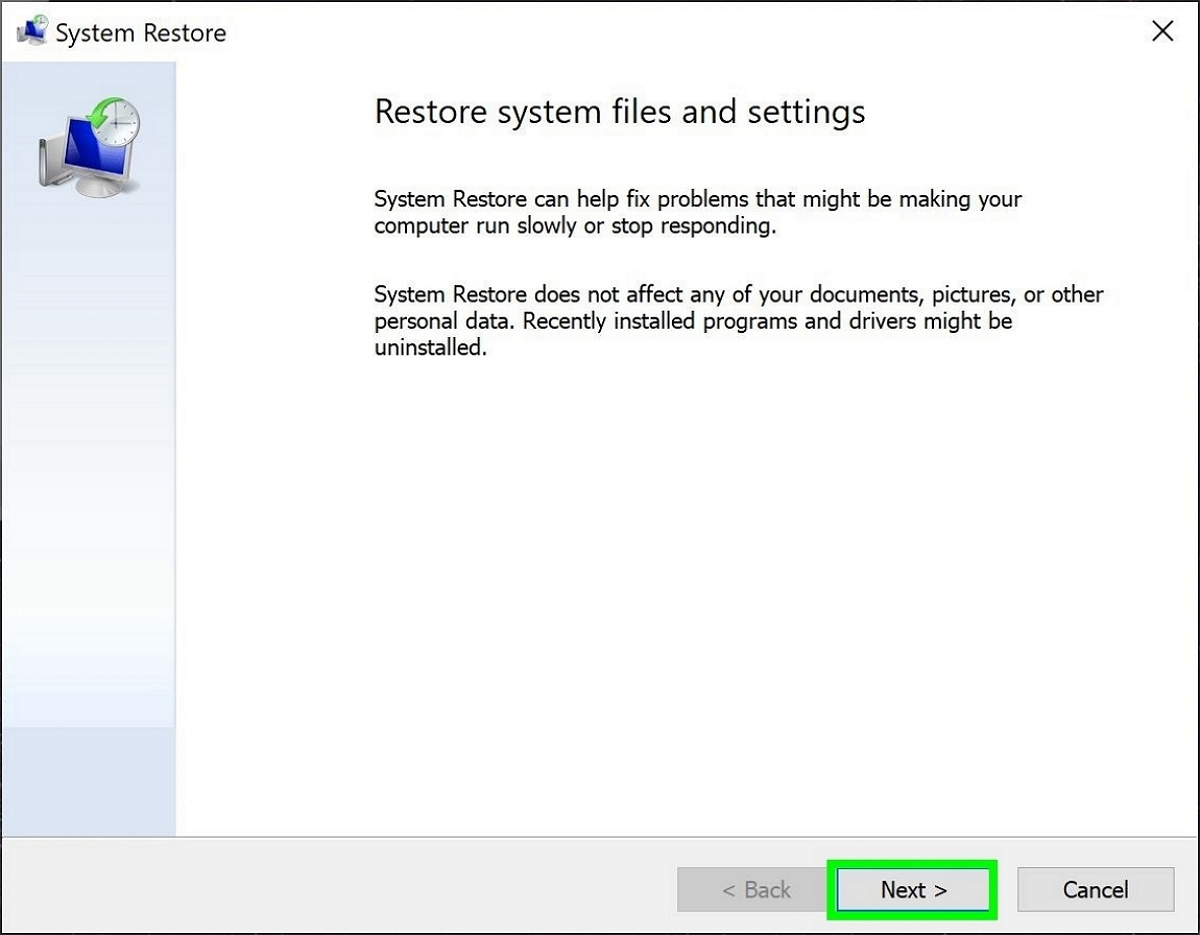 Safe mode restore system settings