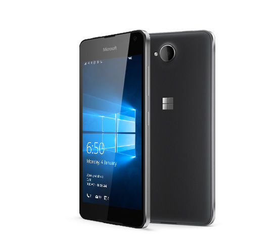 Two black Lumia 650 phones with one facing backward and the other facing forward with Windows 10 lock screen