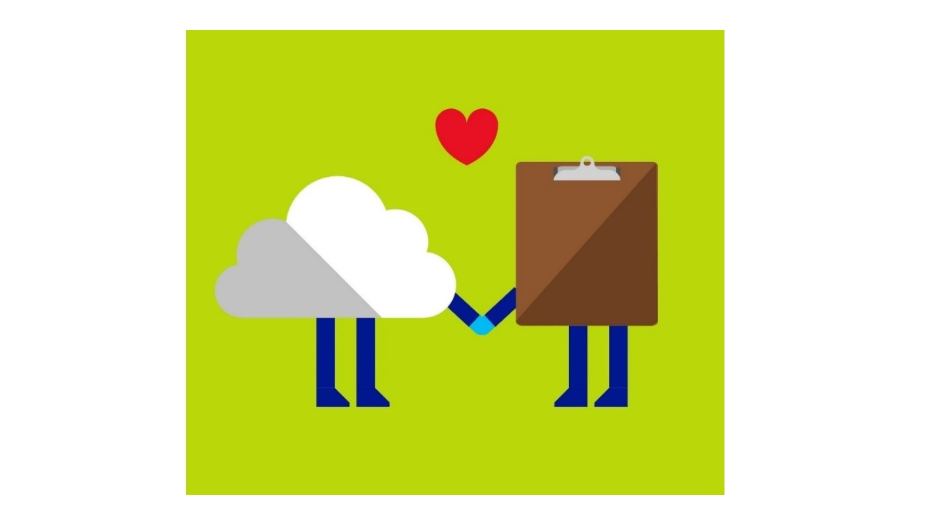 Clipboard and cloud are shaking hands