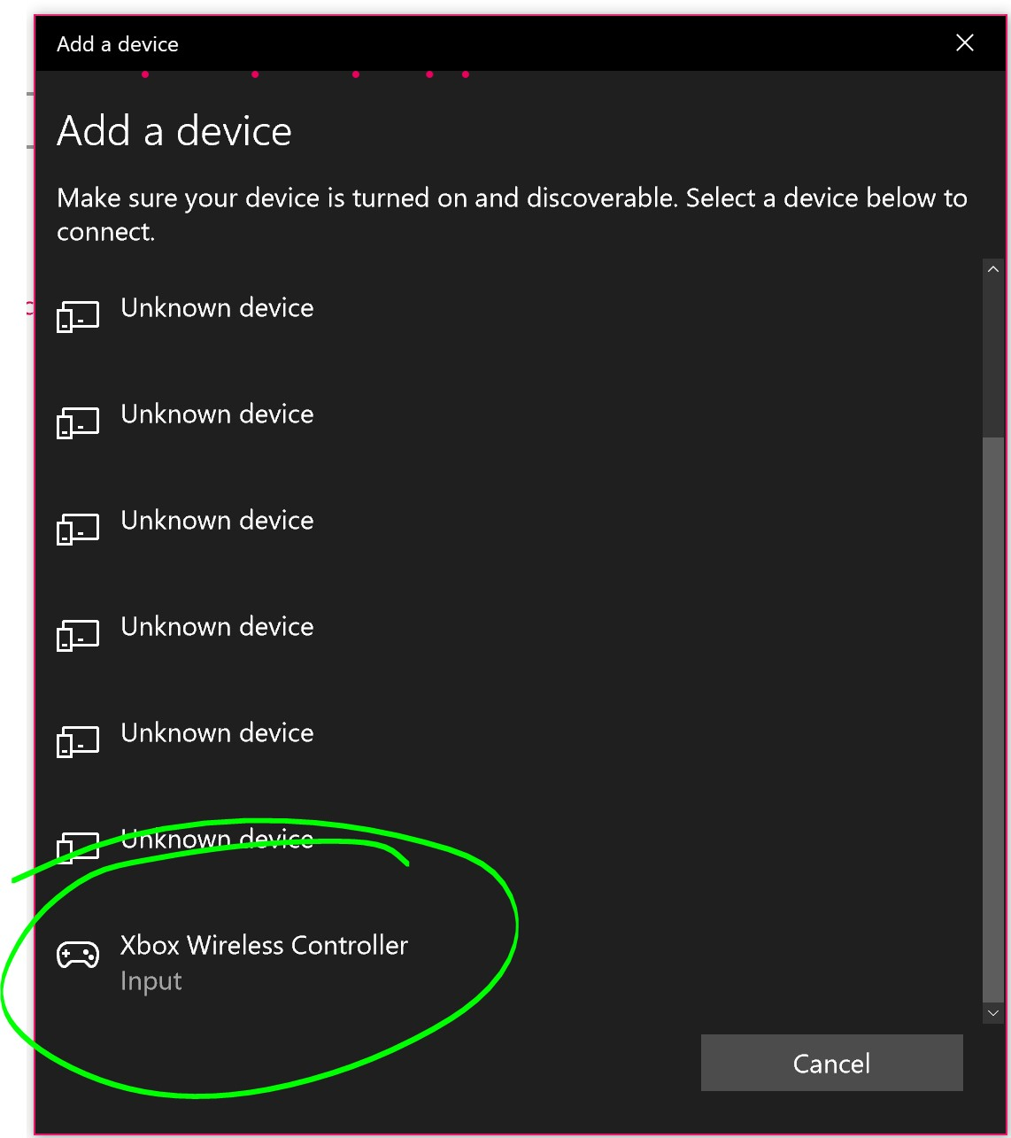 Xbox Wireless Controller in a Bluetooth device list