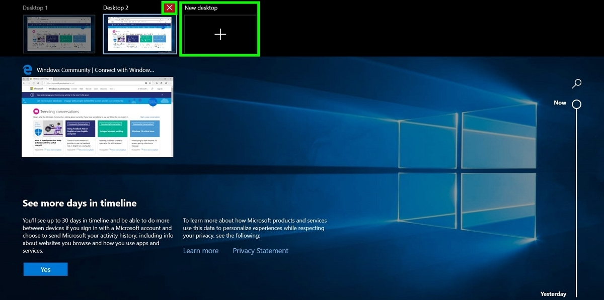 Screenshot of adding and deleting a  virtual desktop in Windows 10