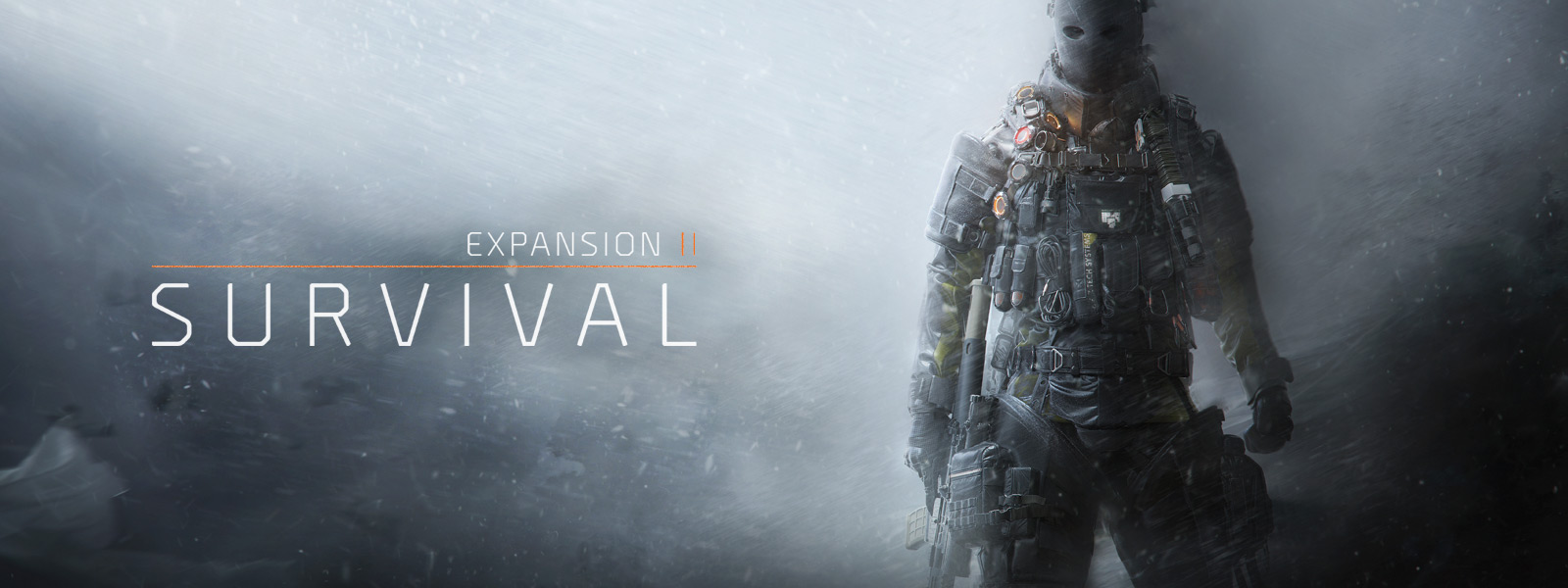 Expansion II: Survival, a man in full gear stands in a blizzard