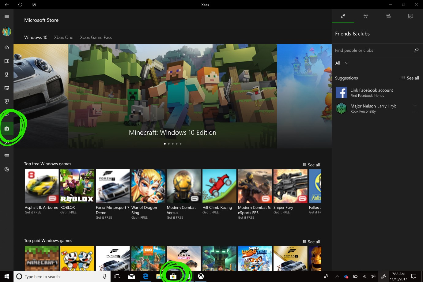 Microsoft Store within Xbox app