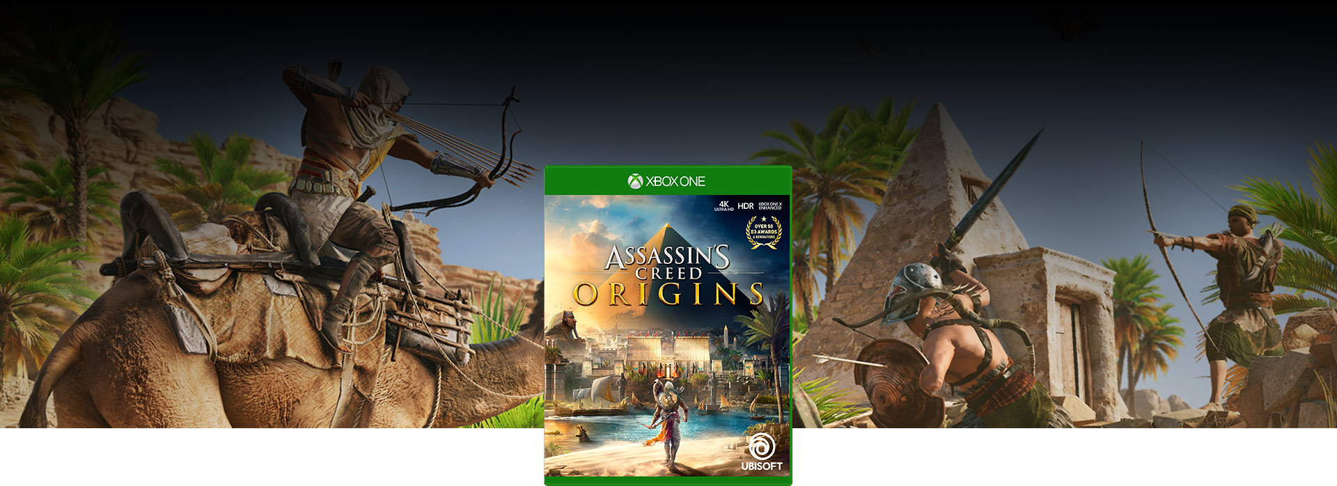 Assassin's Creed Origins box shot over a background of Bayek riding a camel shooting arrows at a group of enemies