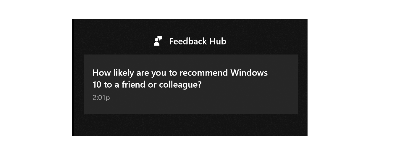 Screenshot of Feedback Hub asking if you'd recommend Windows 10 to friend or colleague