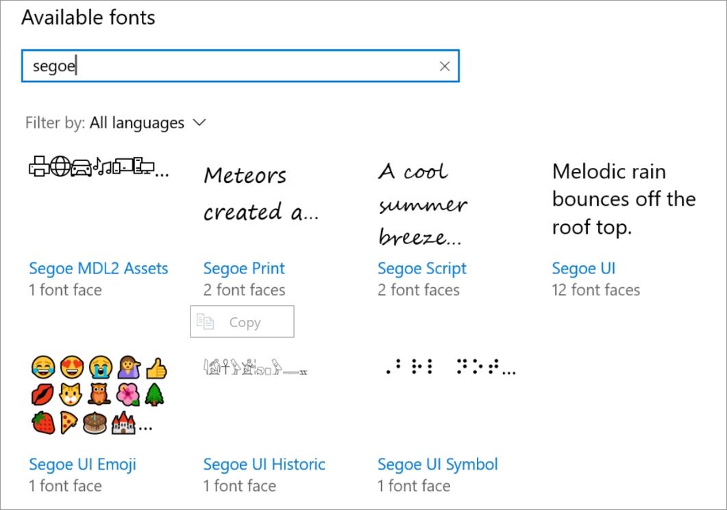 Segoe fonts
