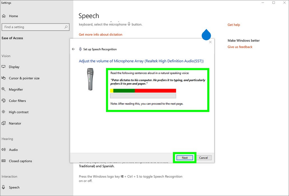 Screenshot of Speech recognition  recording tool