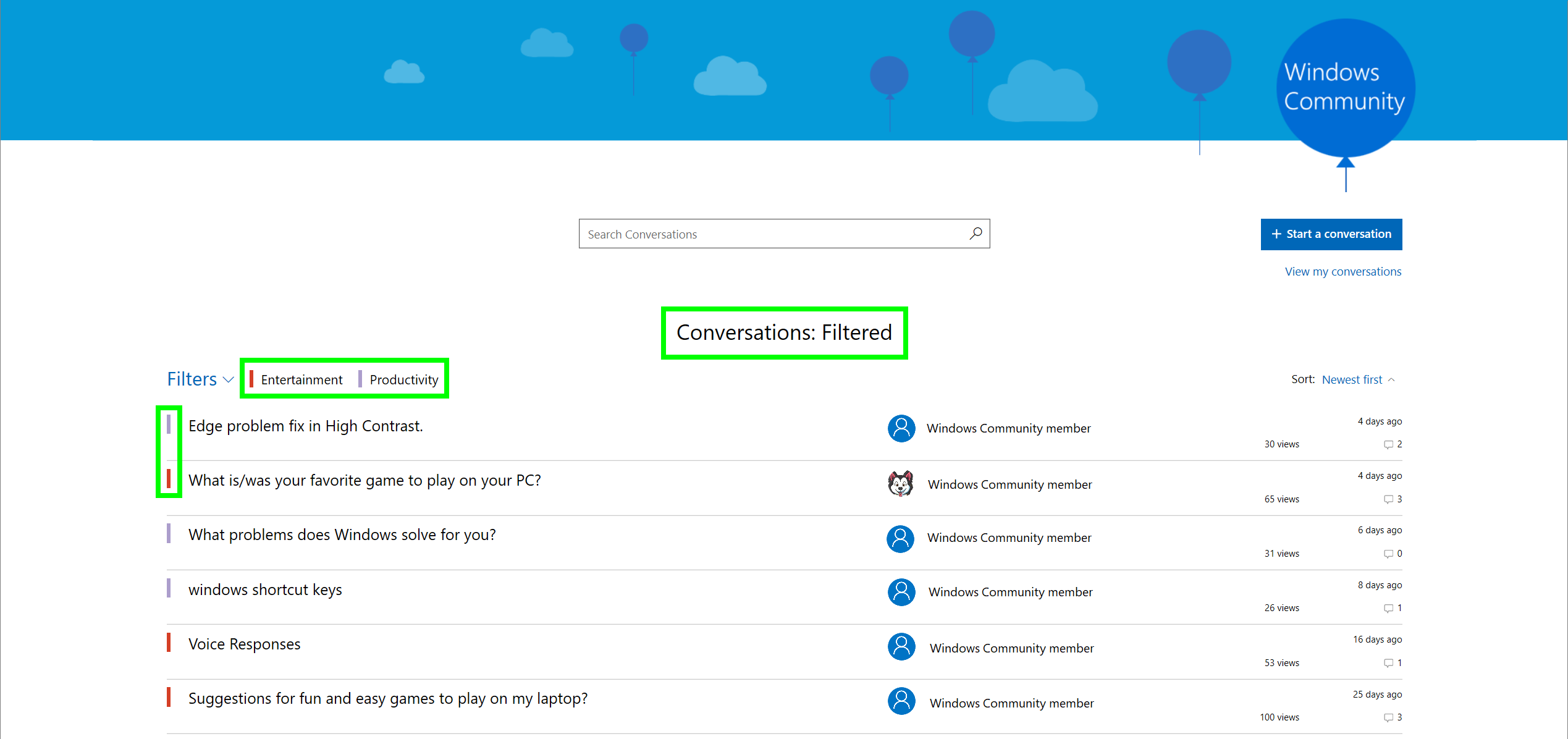 Screenshot of filtered conversations for selected preferences